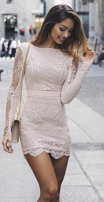 Nude lace little dress, Cocktail dress
