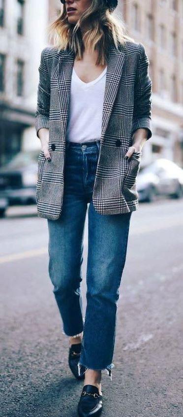 Magnetic outfit ideas for plaid boyfriend blazer, Glen plaid
