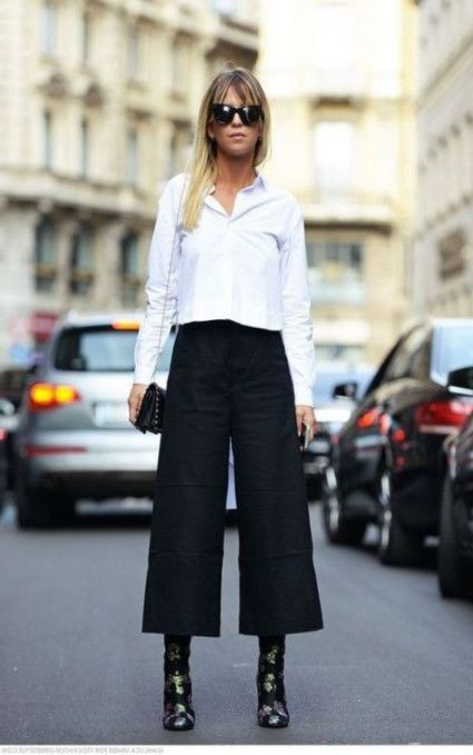 Culottes Outfit Ideas, Three quarter pants, Combat boot
