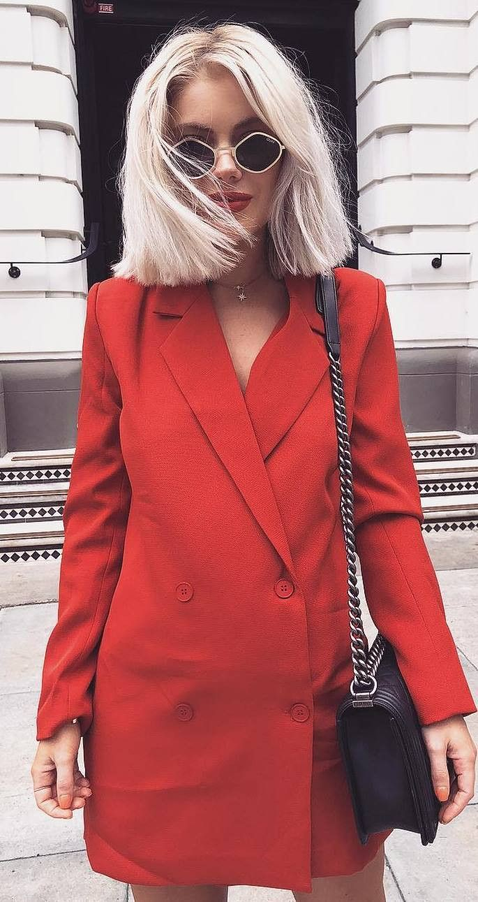 Red blazer dress outfit, Casual wear
