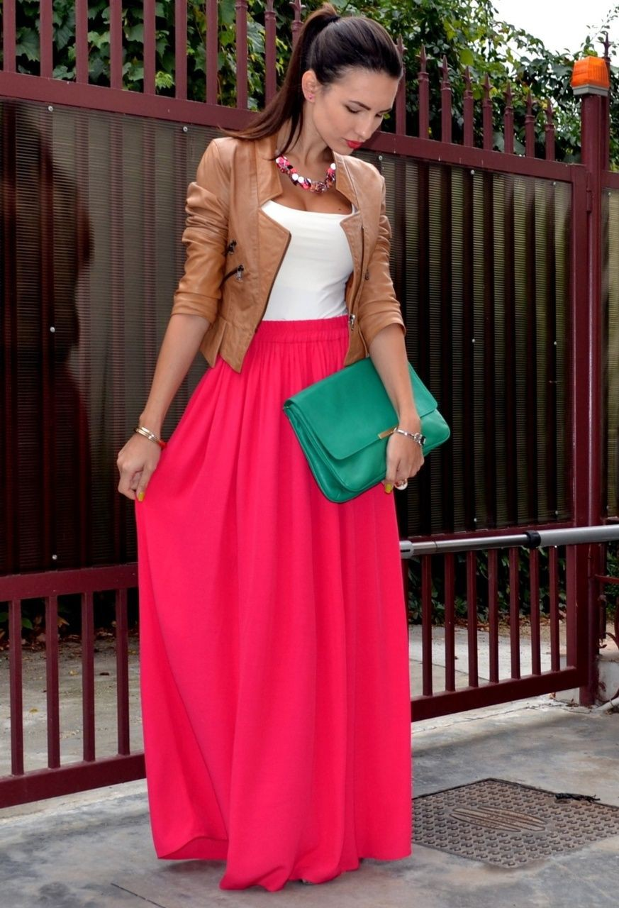 Find these great pink maxi skirt, Leather jacket