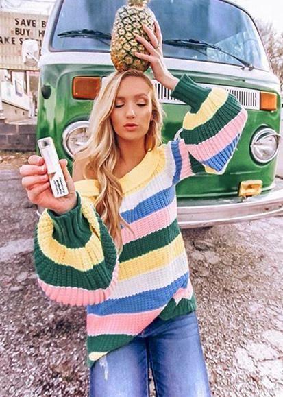 Striped Color Block Sweaters, Casual wear, Crew neck