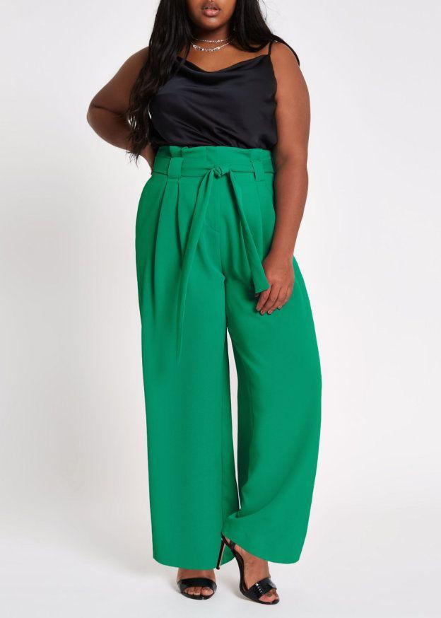 Pantalon ample bleu vert, Pantalon large