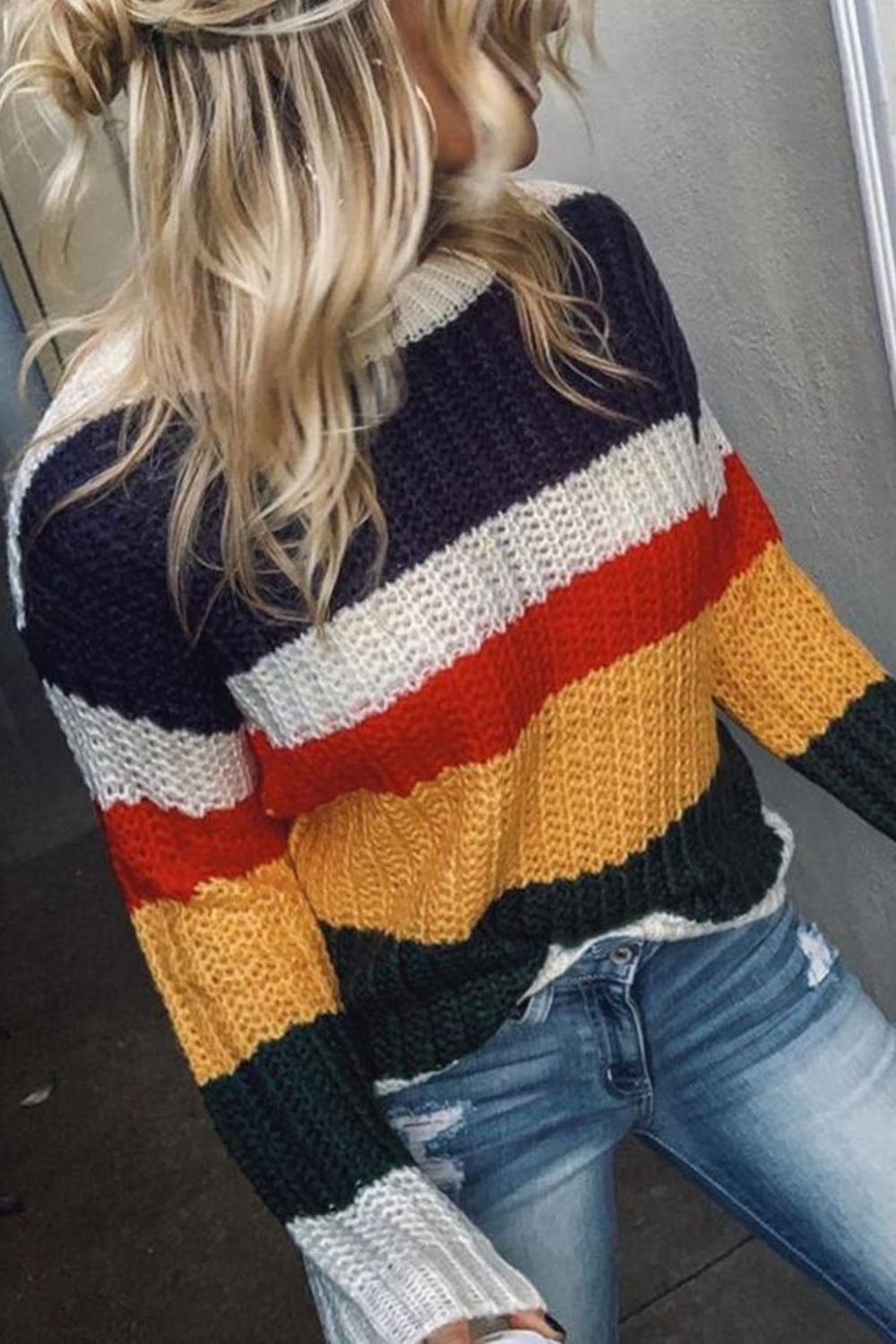 Simple Color Block Sweaters outfit