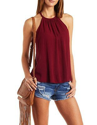 Red sleeveless top outfit, Sleeveless shirt