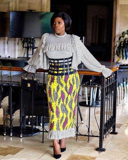 Trendy and elegant fashion model, African wax prints