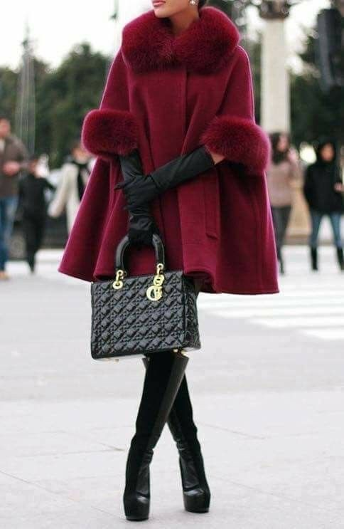 Fur trimmed coat outfit, Fur clothing