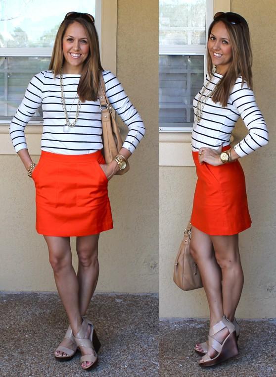 Wear a navy striped shirt