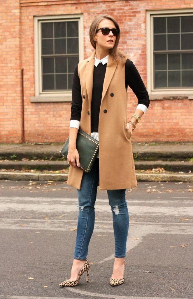 Long sleeveless blazer outfits, Sleeveless shirt