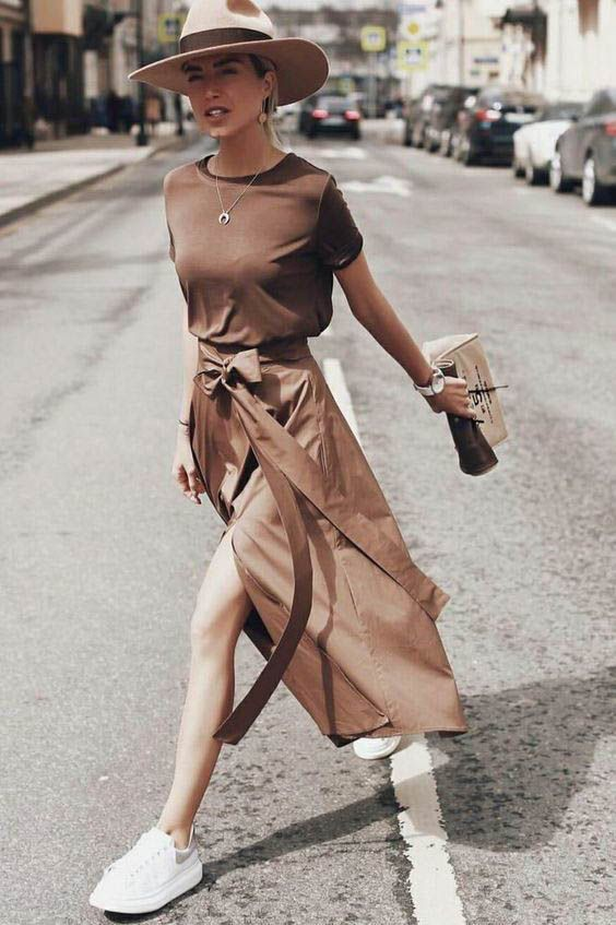 Wrap skirt with sneakers, Casual wear