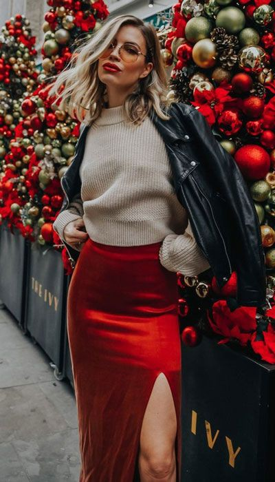 Red sweaters outfit skirt, Casual wear