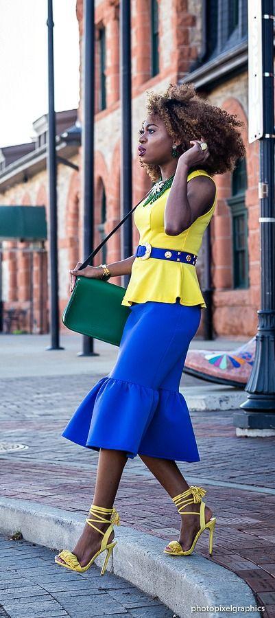 Blue and yellow peplum skirt