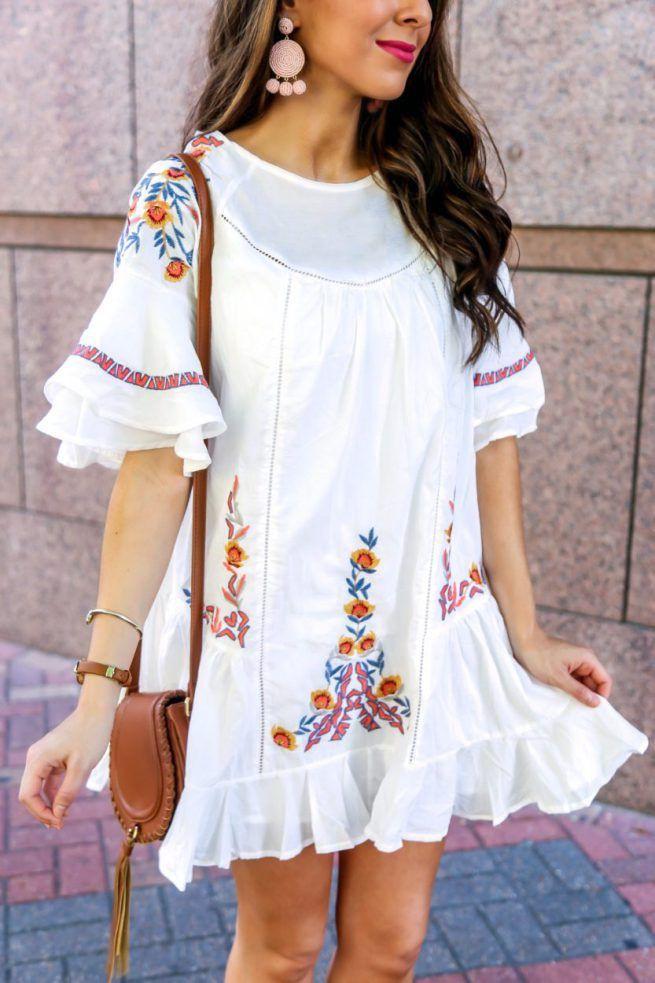 Boho Outfit Ideas, Boho Embroidered Dress, Embroidery Dress