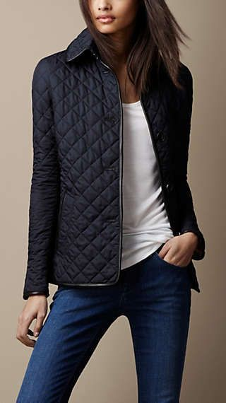 Quilted jacket with leather trim