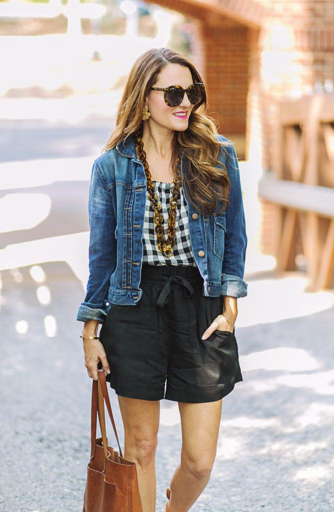Outfits With Black Shorts, Casual wear, Jean jacket