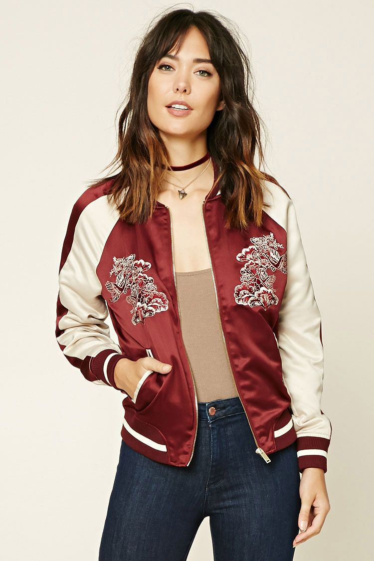 Forever 21 embroidered bomber jacket, Flight jacket