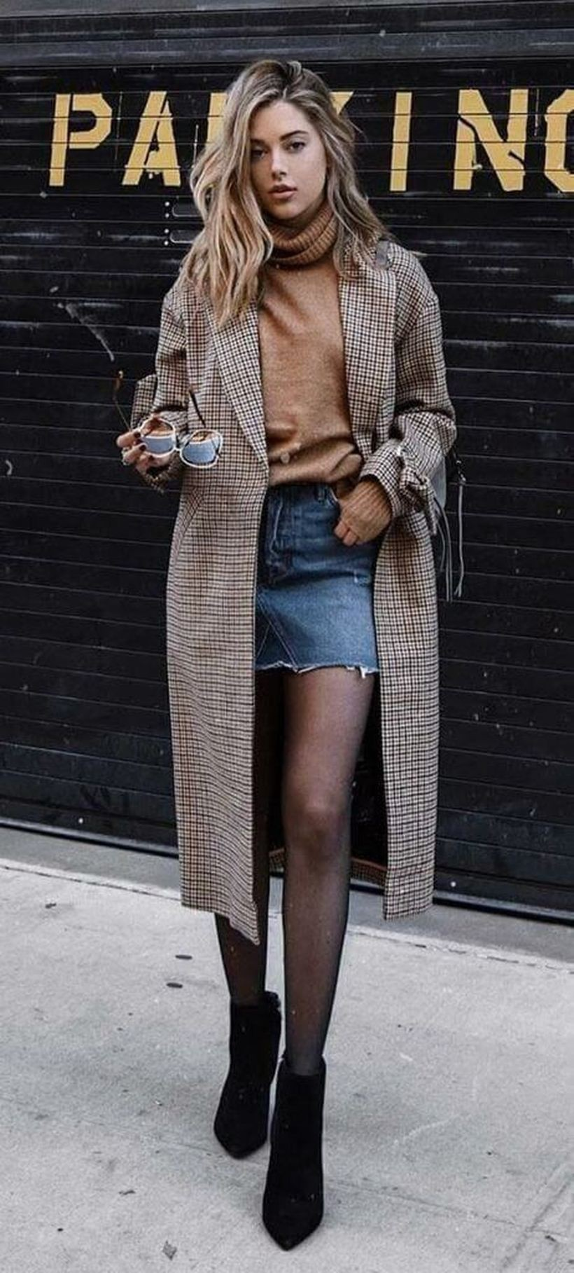 Just out of the world winter outfits damen 2019, Denim skirt