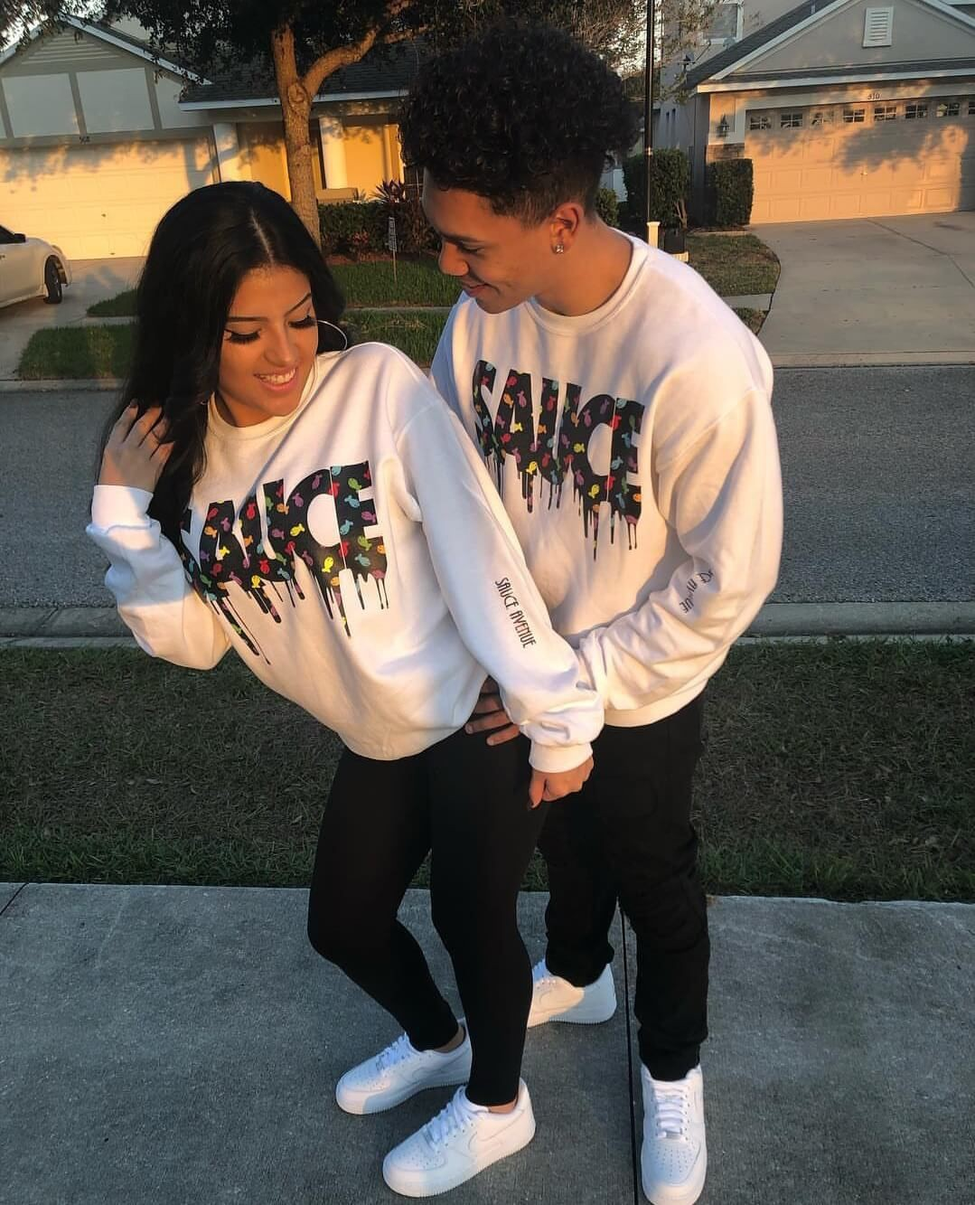 Cute couples matching outfits, Crew neck