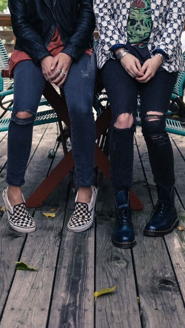 Black jeans with checkered vans