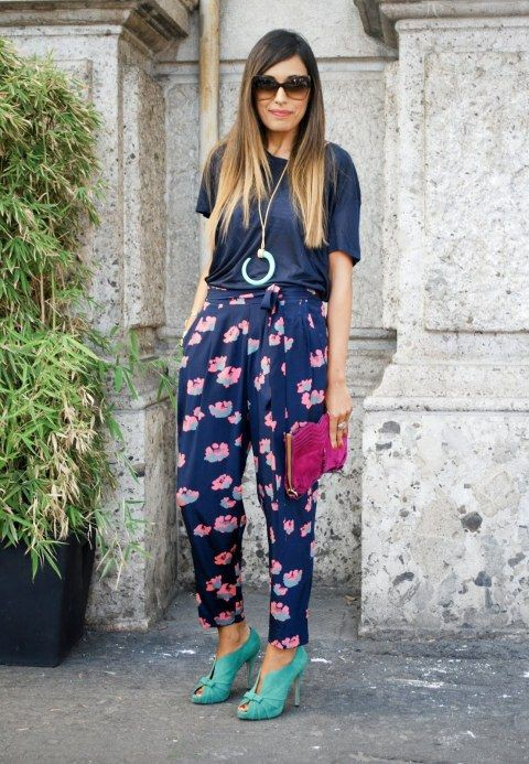 Printed pants street style, Street fashion