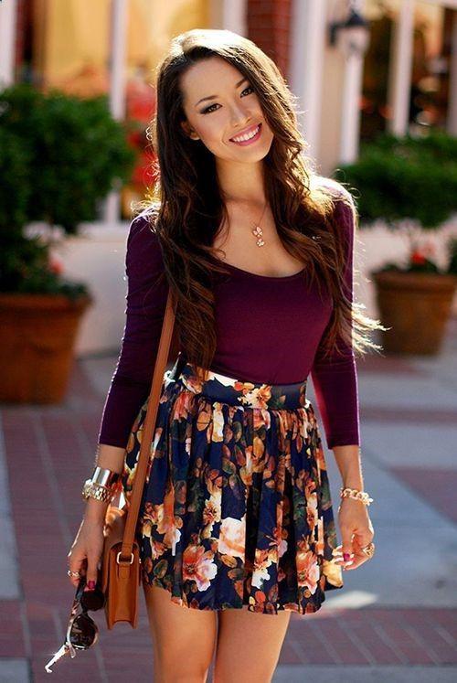 Summer short skirt outfits, Floral Skirt