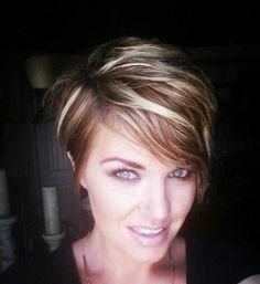 Short pixie hair with blonde highlights