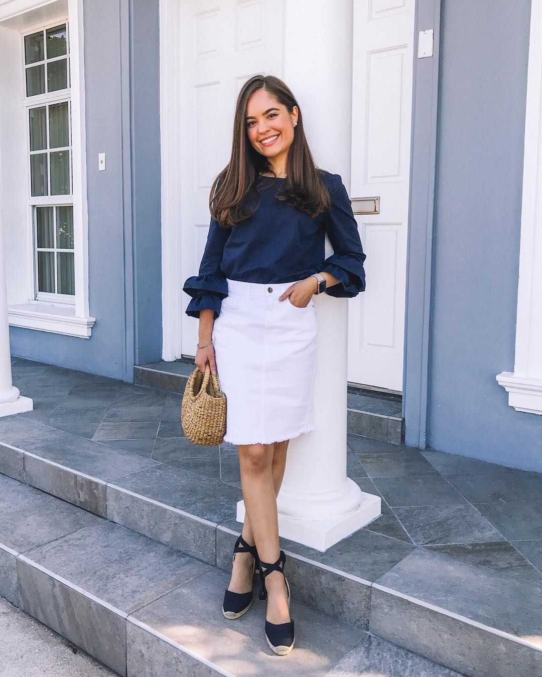 Tops to wear with white skirts