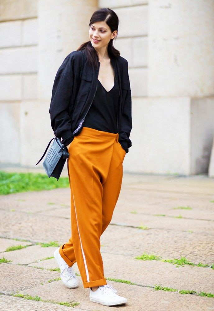 Outfits With Side Stripe Trousers For Girls, Sports shoes, Harem pants