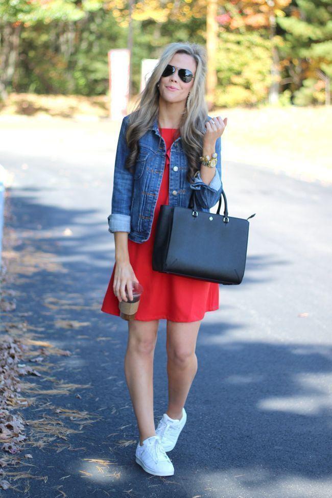 Short red dress with denim jacket