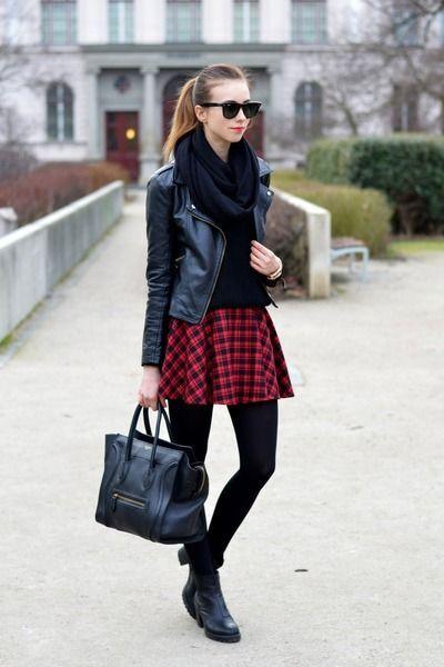 Plaid skirt black leggings, Skater Skirt