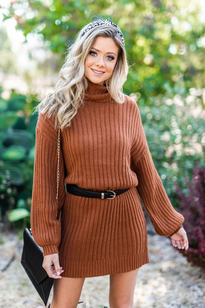 Cable Knit Dress And Polo neck Outfits For Women