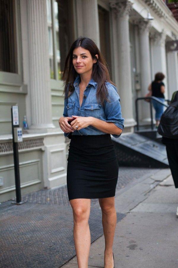 Denim shirt and pencil skirt