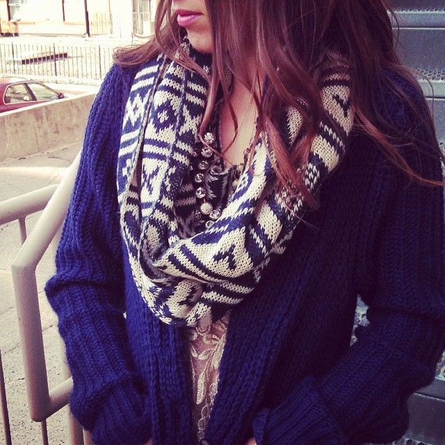Blue scarves Outfits