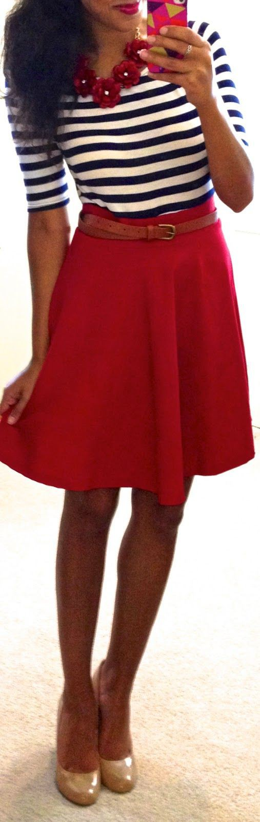 Summer Red Skirt Outfit