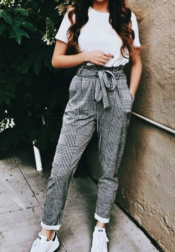 White top with plaid pants