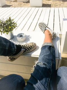 Slip on checkered vans aesthetic