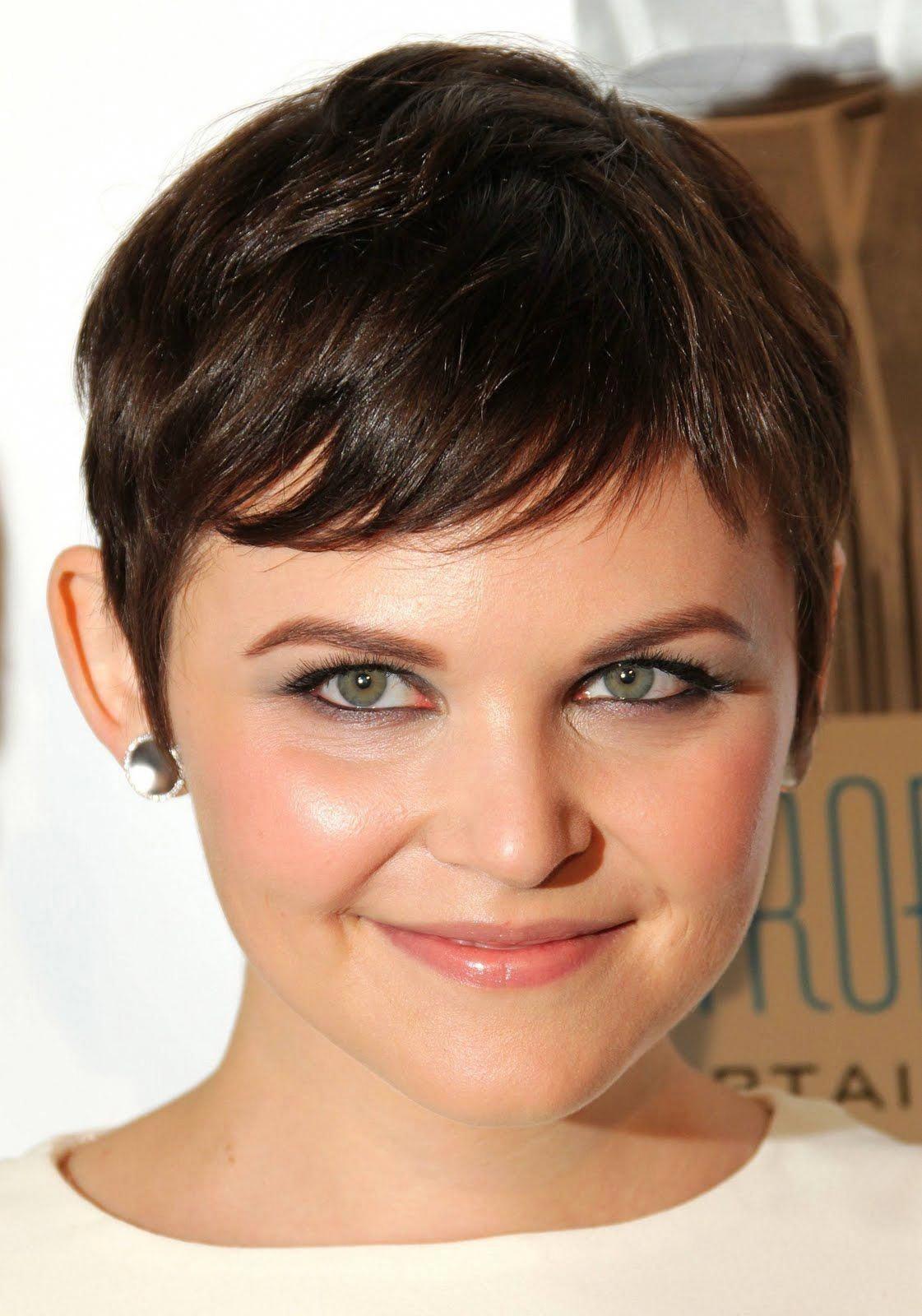 Girl round face short hair