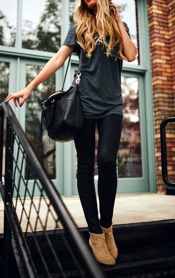 Black jeans tan ankle boots