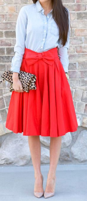 Red midi skirt outfits, Casual wear
