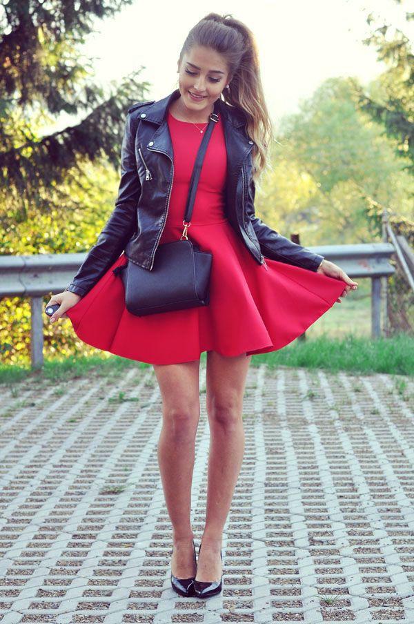 Czerwona sukienka stylizacje weselne, Party dress