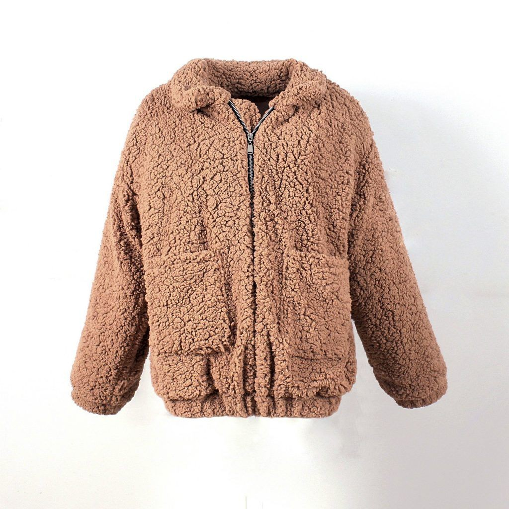 Cute and stylish fuzzy jacket womens, Fake fur
