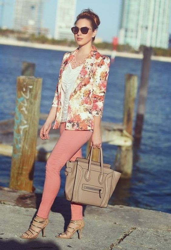 Own style of floral blazer outfit, Floral design