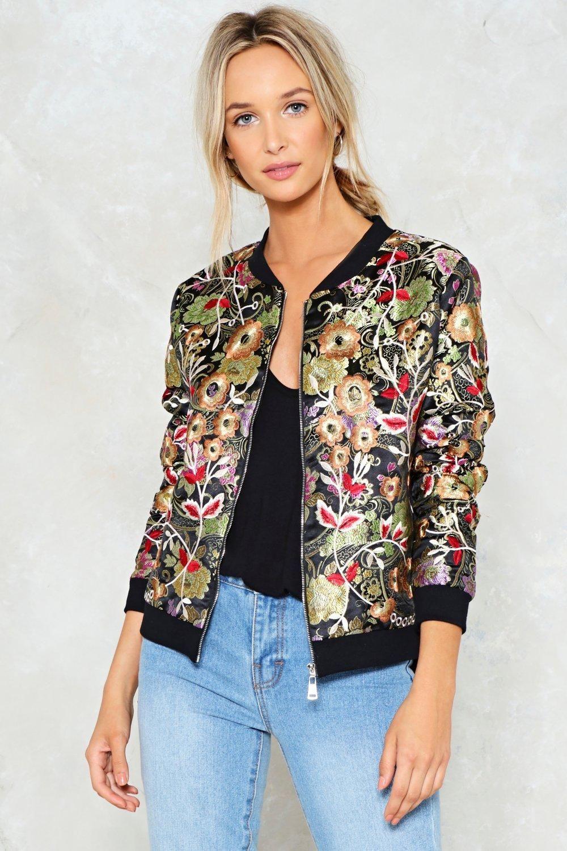 Elegant & stylish floral bomber jacket, Flight jacket