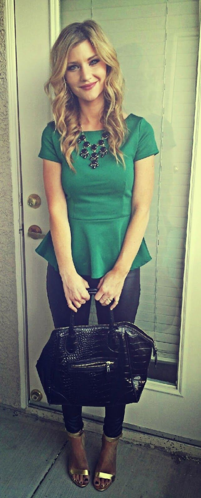 Green peplum top outfit, Sleeveless shirt