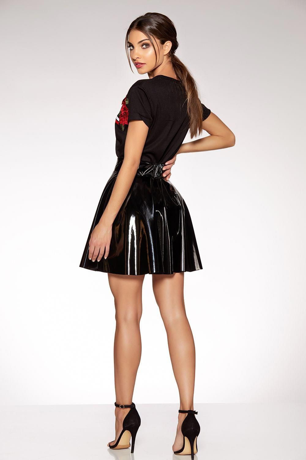 Metallic skater mini skirt discountdance