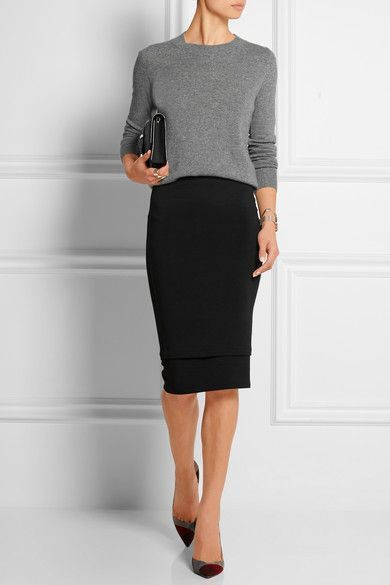 Black pencil skirt office outfit