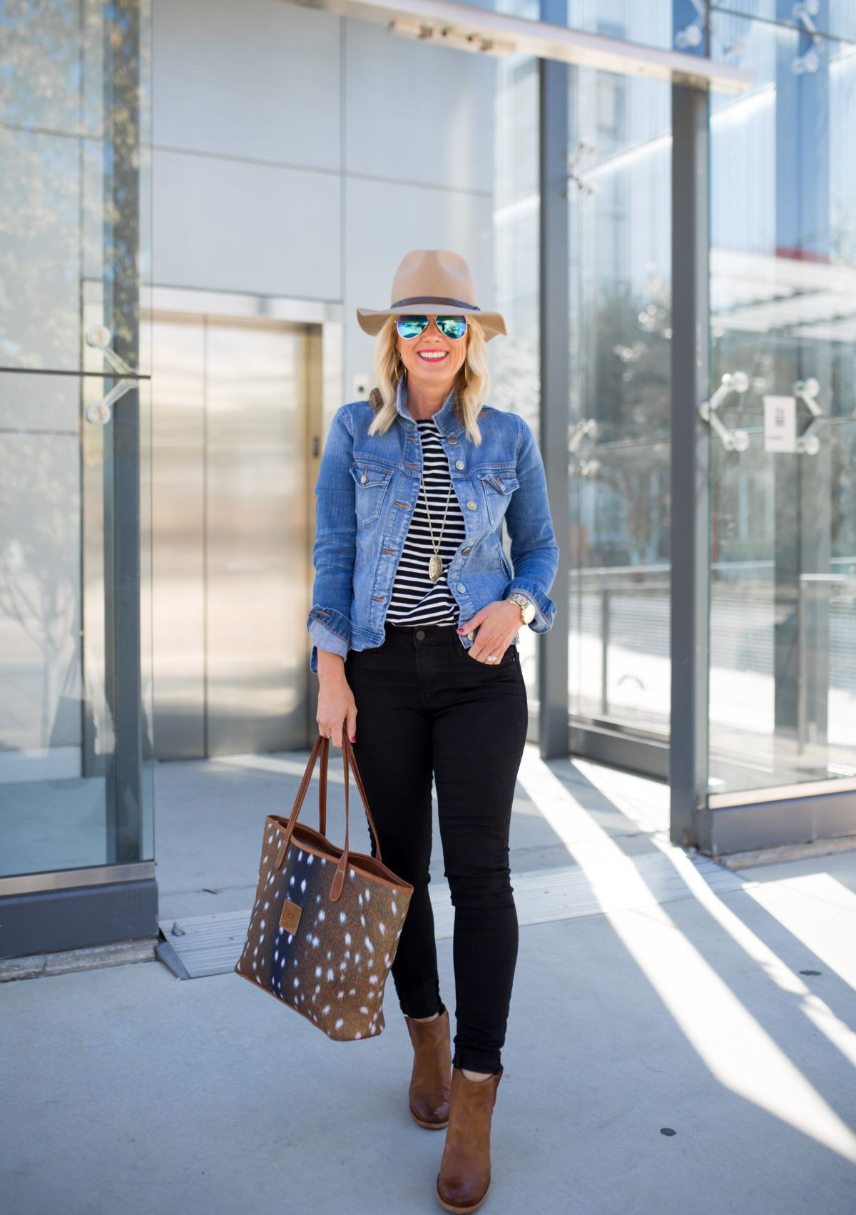 Black and white striped shirt with jean jacket