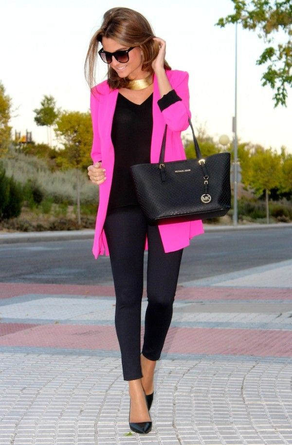Hot pink and black outfits