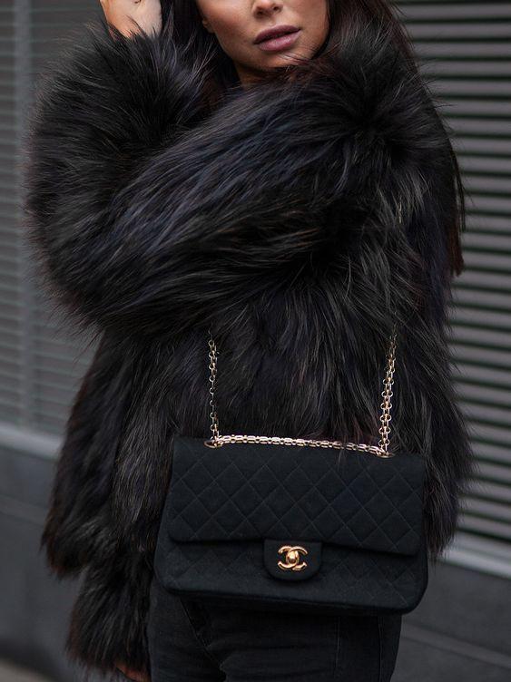 Adorable stuff black fur coat, Fur clothing