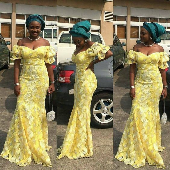 Aso Ebi Styles, Lace Prom Dress